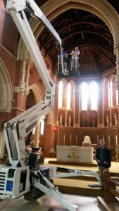 Changing the Sanctuary lights 2015